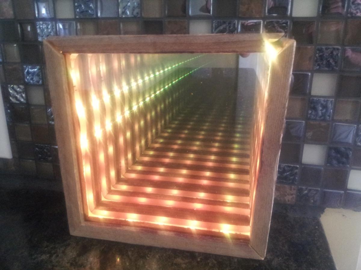 Infinity mirror effect prototype.